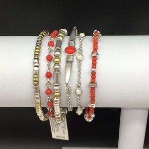 Lucky Brand Layers Beaded Red Coral Boho Bracelet
